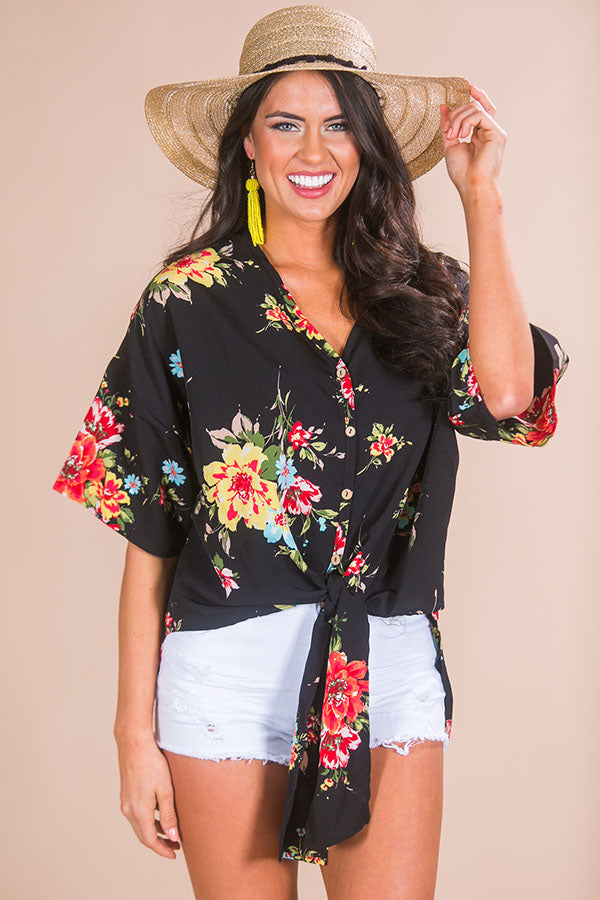 Sunset In Malibu Floral Tie Top in Black