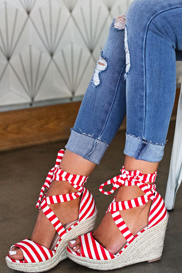 The Ashton Stripe Wedge In Red