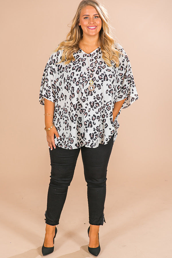 Fashion Queen Leopard Shift Tunic in Ivory