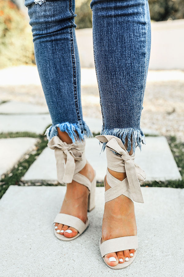 The Parker Faux Suede Lace Up Heel in Nude