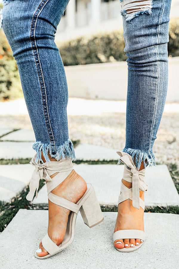 The Parker Faux Suede Lace Up Heel in