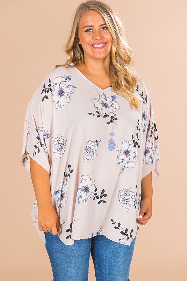 Fashion Queen Floral Shift Tunic in Almost Mauve