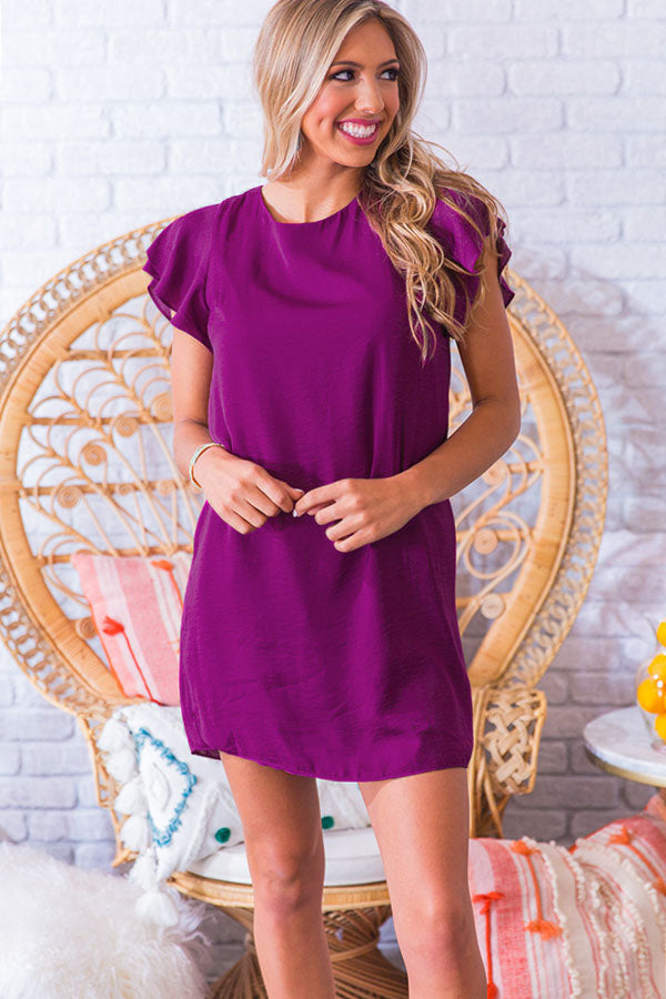 Wine Club Satin Shift Dress in Orchid