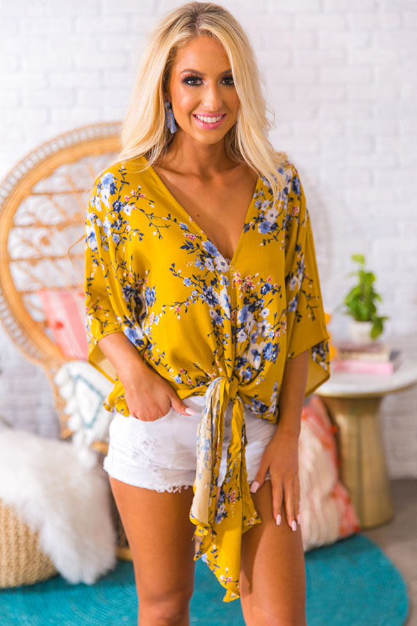 Key West Floral Shift Top in Mustard