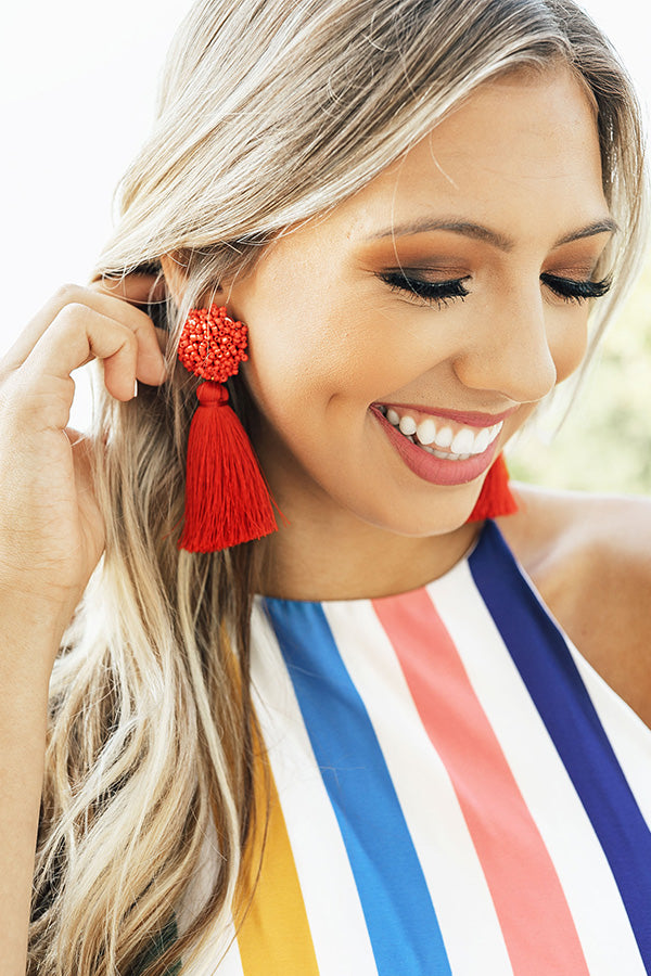 Midnight Kisses Tassel Earrings In Red