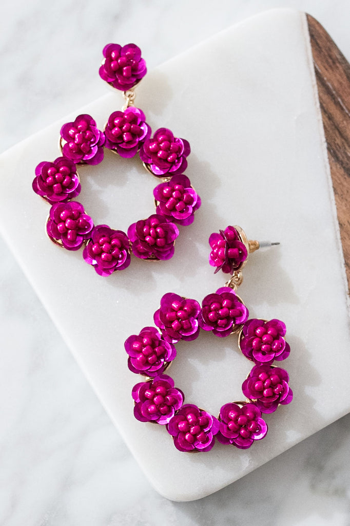 Circle Of Bloom Earrings In Berry
