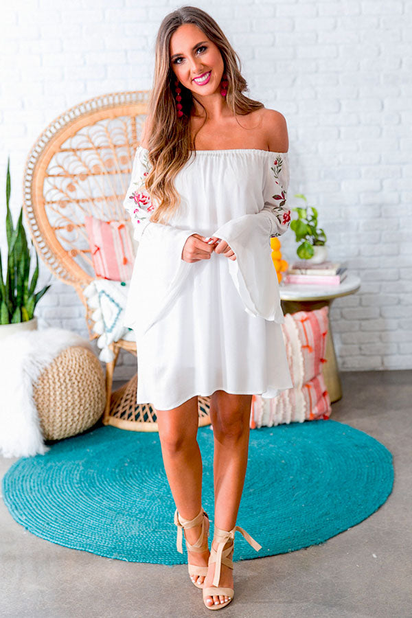 Champagne On The Beach Embroidered Shift Dress in White