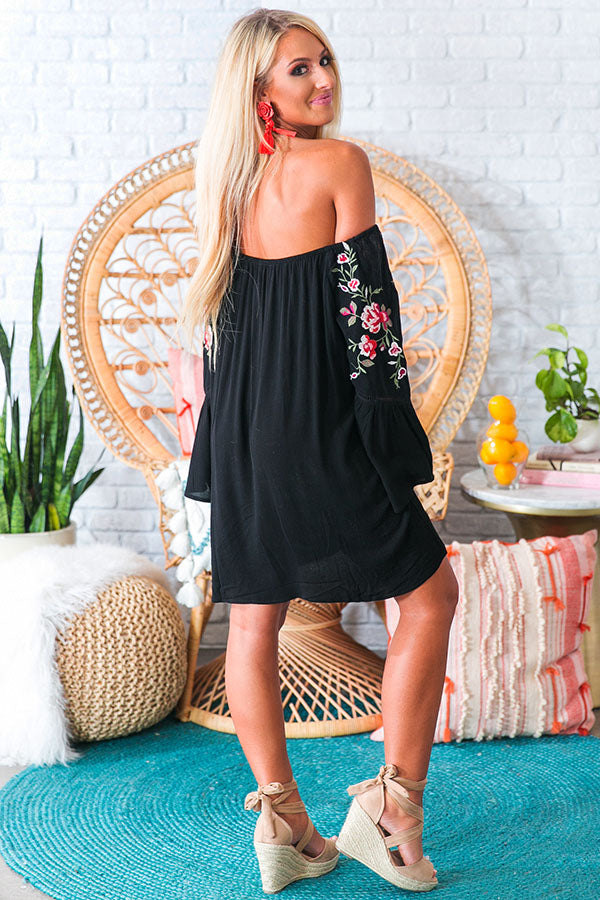 Champagne On The Beach Embroidered Shift Dress in Black