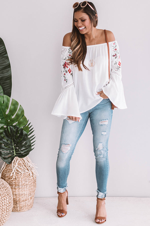 Steal A Kiss Embroidered Shift Top in White