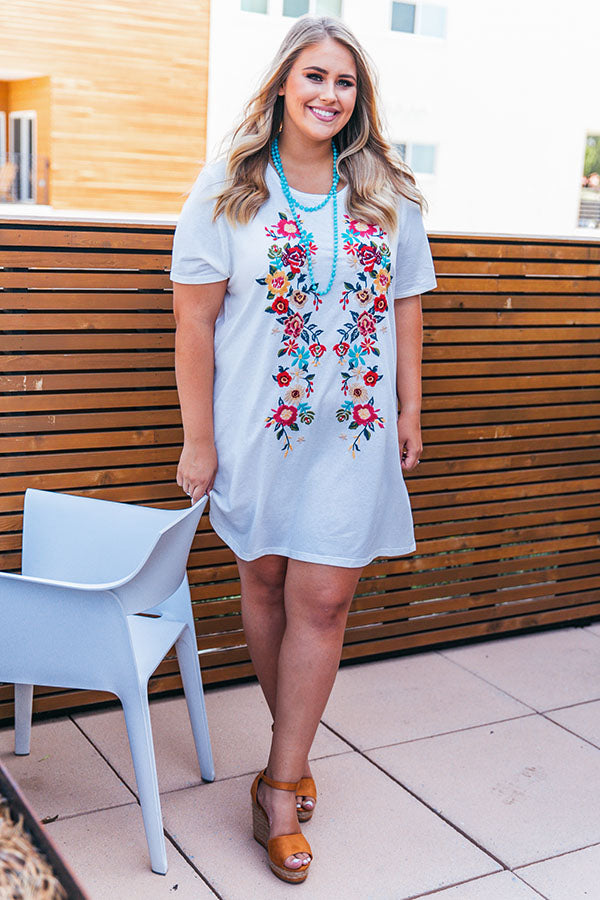 Cabo Chic Embroidered T-shirt Dress in White