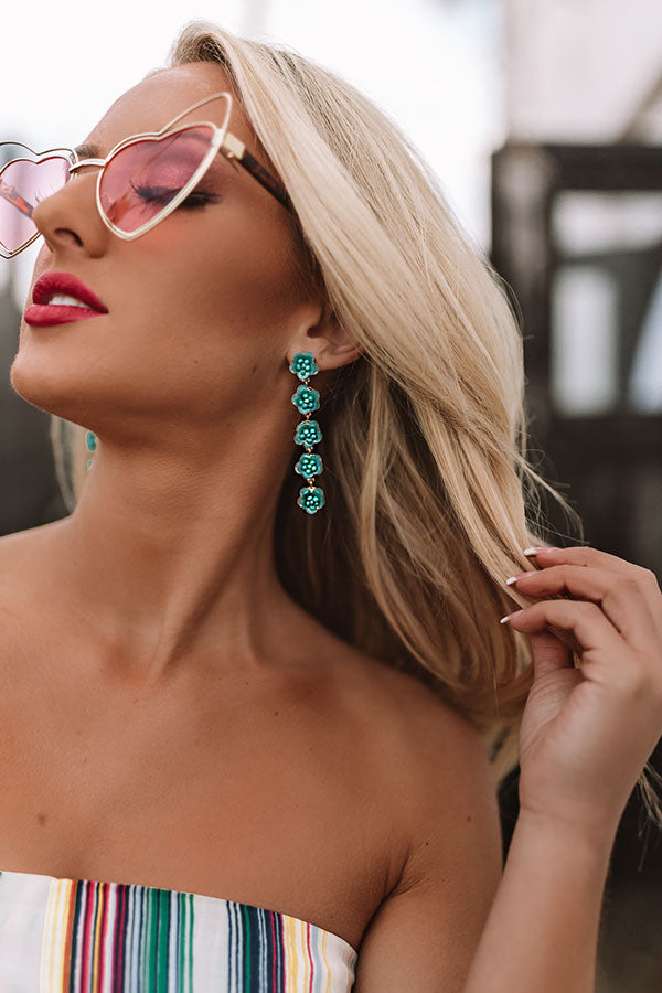 Flower Power Earrings In Aqua