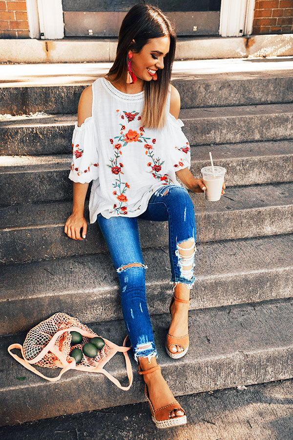 Paradise is Calling Embroidered Shift Top in White