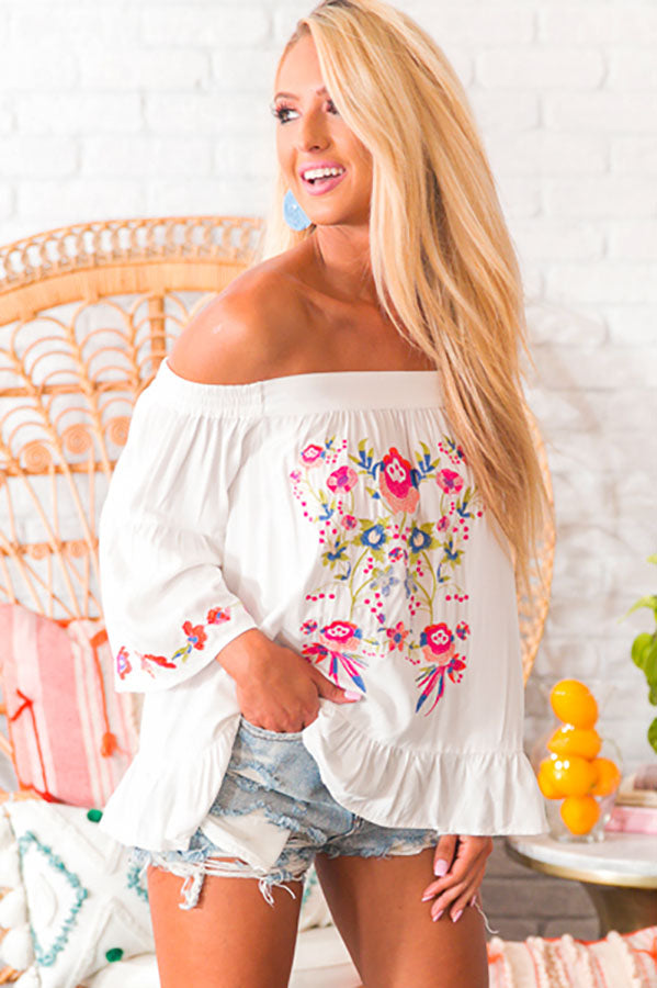 Patio Party Embroidered Shift Top