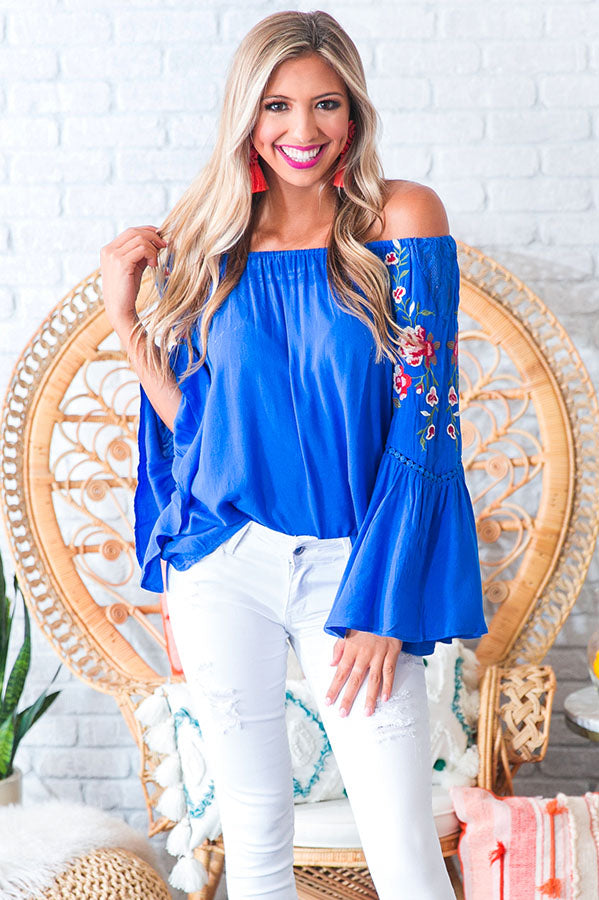 Steal A Kiss Embroidered Shift Top in Blue