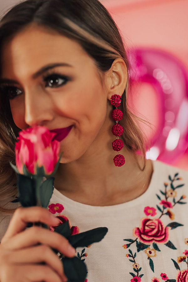Ring Around The Roses Earrings In Berry