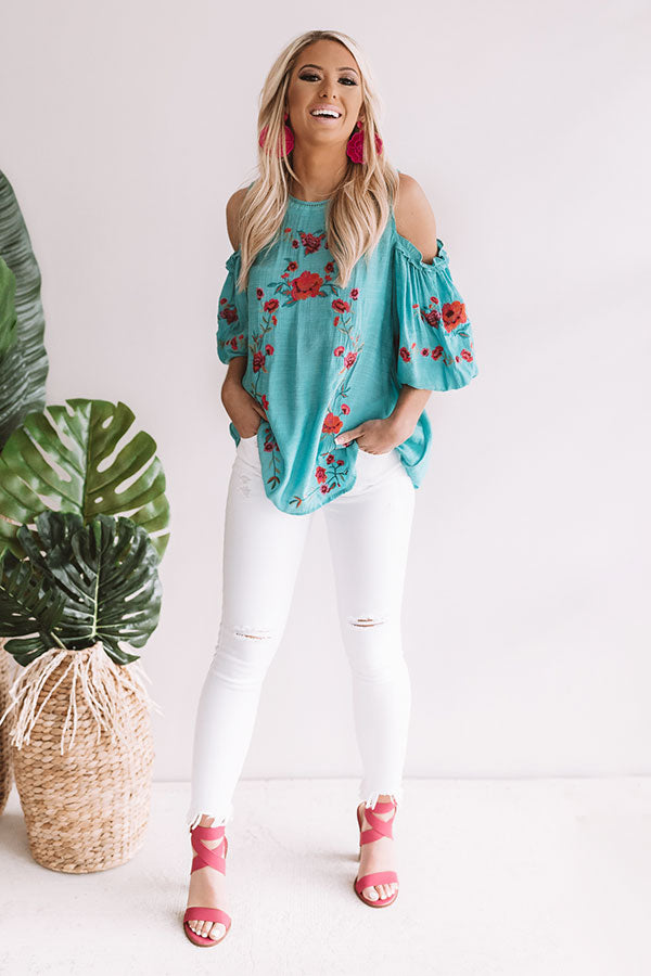Paradise is Calling Embroidered Shift Top in Turquoise