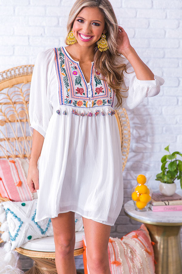 Mai Tais In Maui Embroidered Shift Dress in White