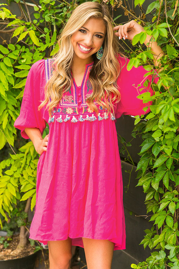 Mai Tais In Maui Embroidered Shift Dress in Pink