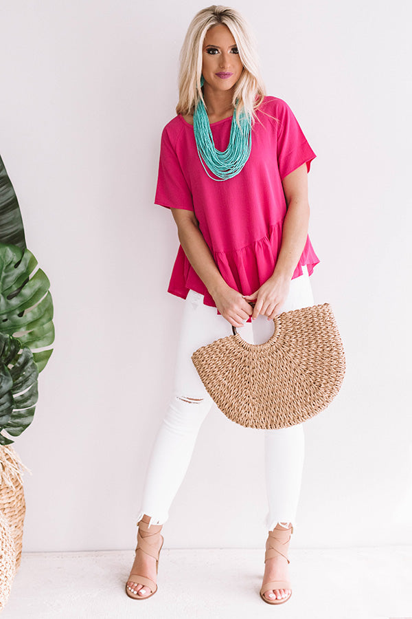 Oh So Charming Shift Top in Hot Pink