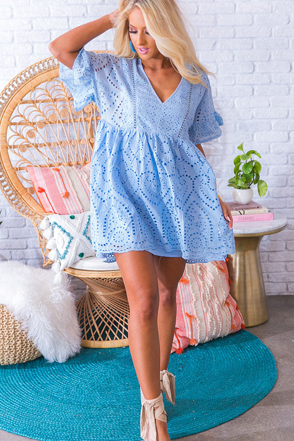 Shore Thing Eyelet Dress in Sky Blue