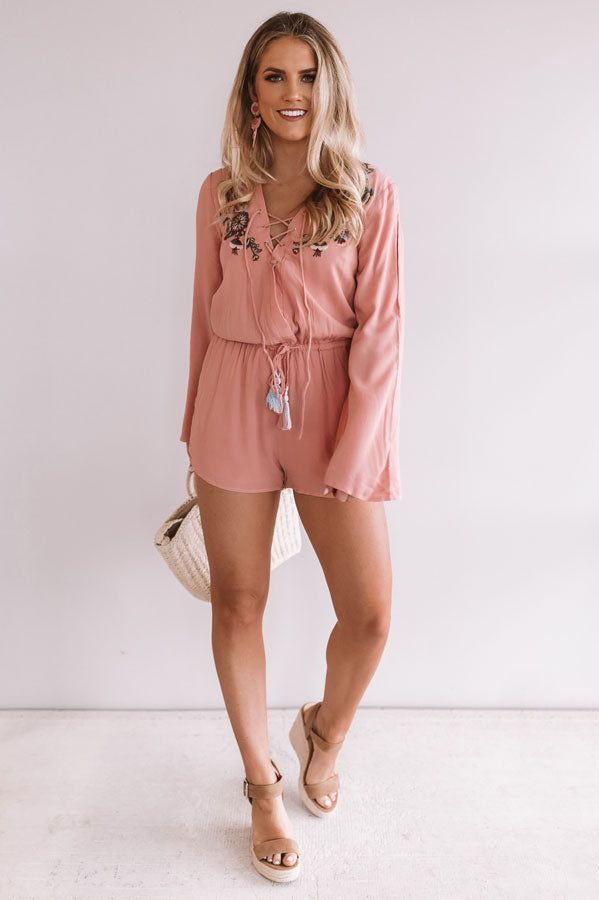 Margaritas On The Patio Embroidered Romper in Blooming Dahlia