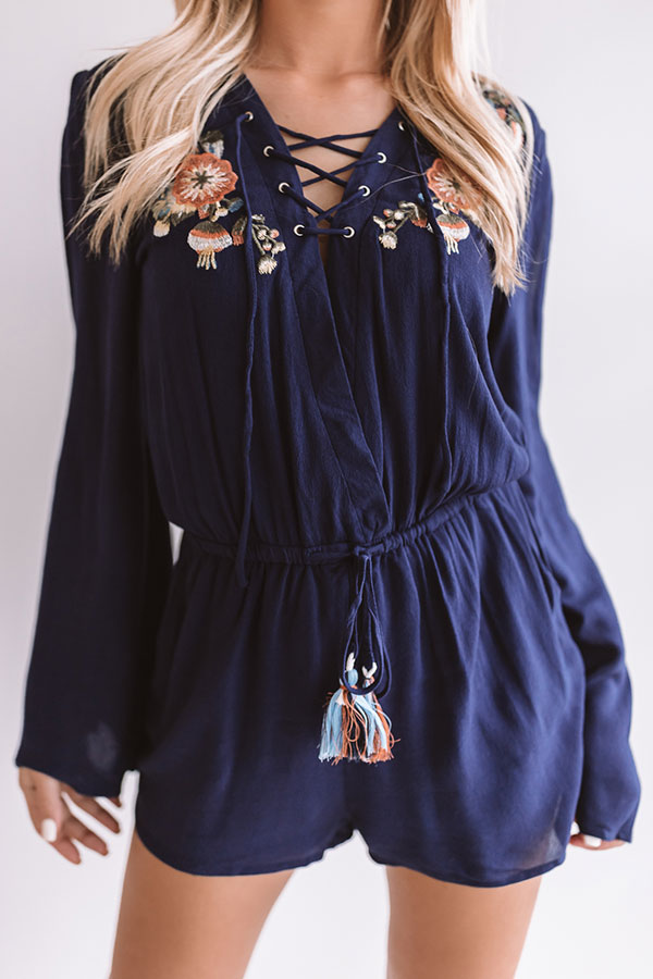 Margaritas On The Patio Embroidered Romper in Navy