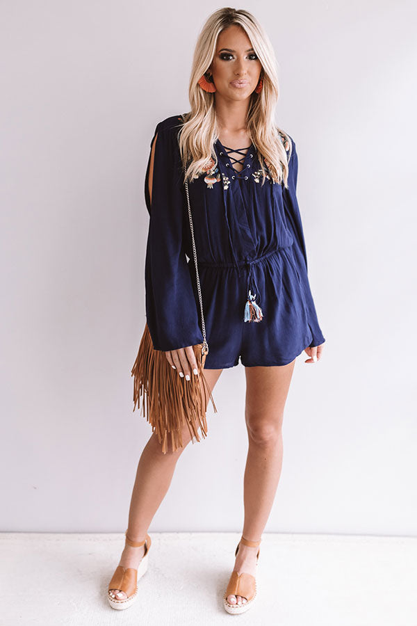 4f82e5a1e71a Margaritas On The Patio Embroidered Romper in Navy