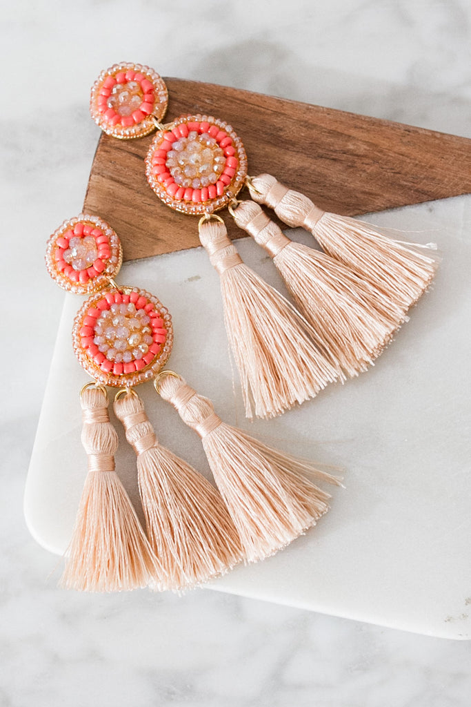 Play It By The Ear Tassel Earrings In Champagne