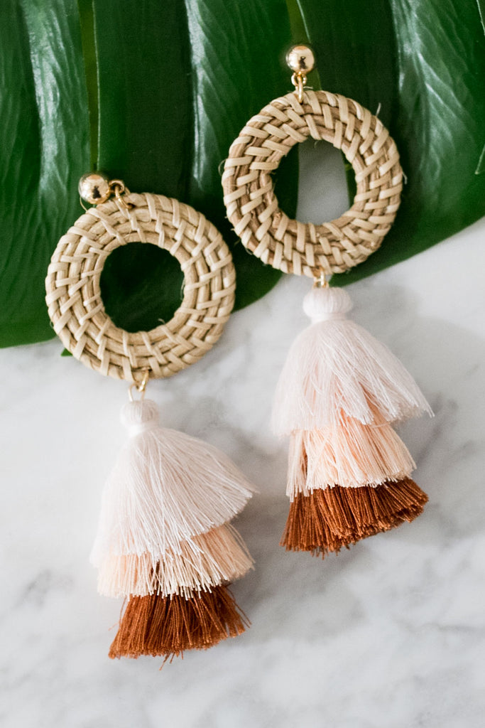 Party Favorite Tassel Earrings In Light Pink