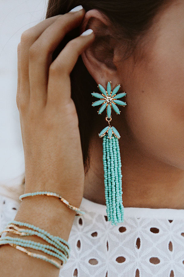 Let Love Bloom Tassel Earrings In Ocean Wave