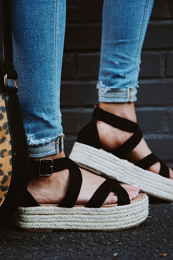 Catalina Island Espadrille in Black