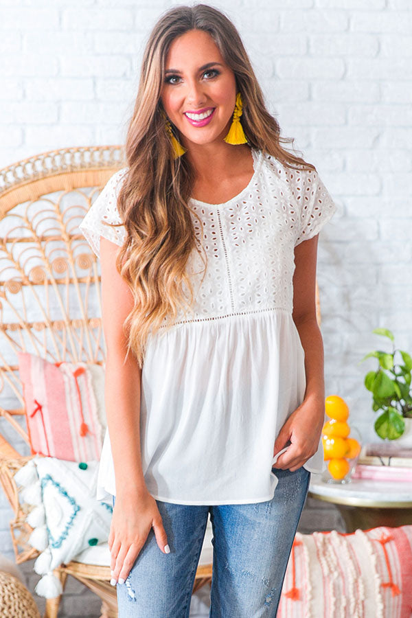 Romance In The Air Eyelet Top in White