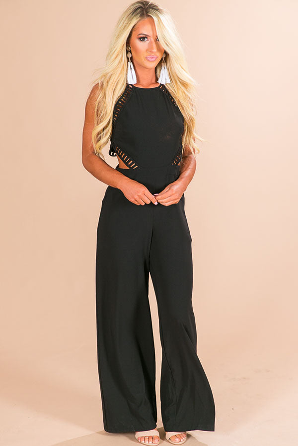 Vino For Two Cut Out Jumpsuit in Black