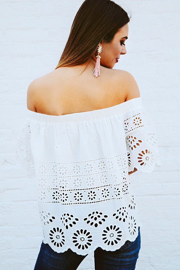 Santorini Eyelet Off Shoulder Top