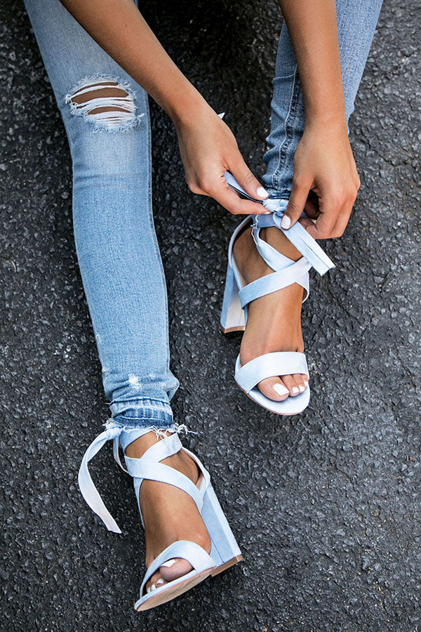 a41c2738f032 The Mia Faux Suede Lace Up Heel in Sky Blue • Impressions Online Boutique