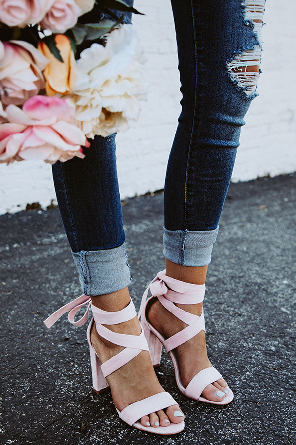 8962b1b65f1d The Mia Faux Suede Lace Up Heel in Blush • Impressions Online Boutique
