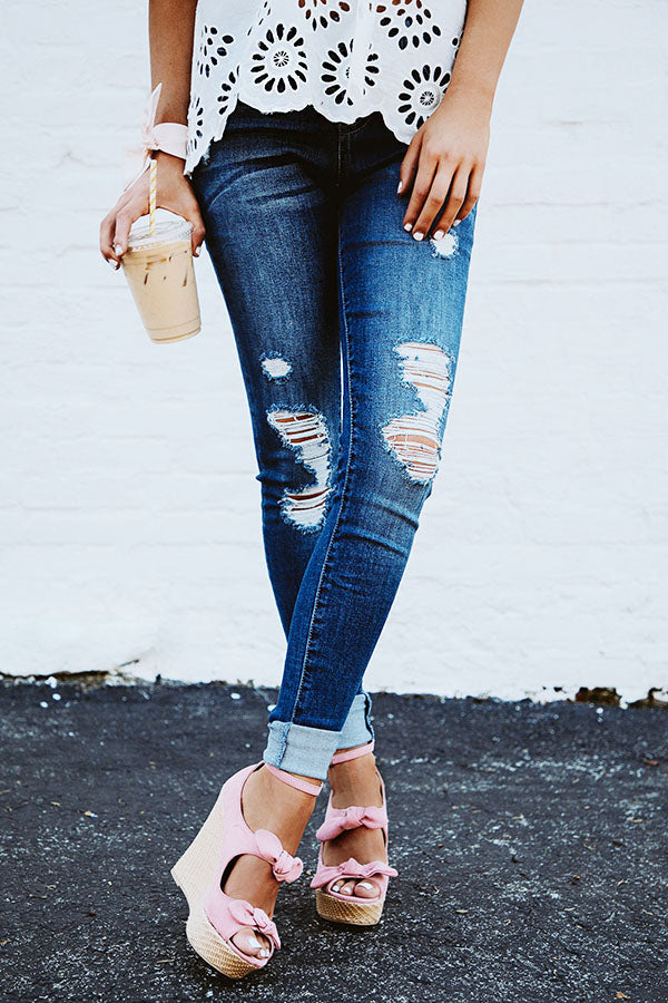 Delilah Mid Rise Distressed Skinny