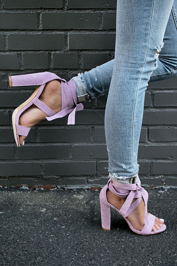 The Mia Faux Suede Lace Up Heel in Heirloom Lilac
