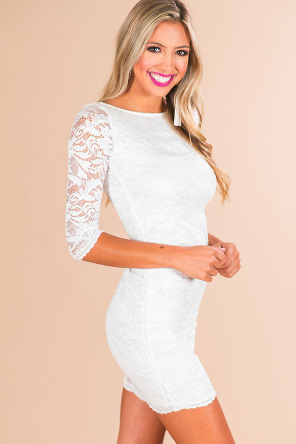 Golden Hour Lace Dress in White