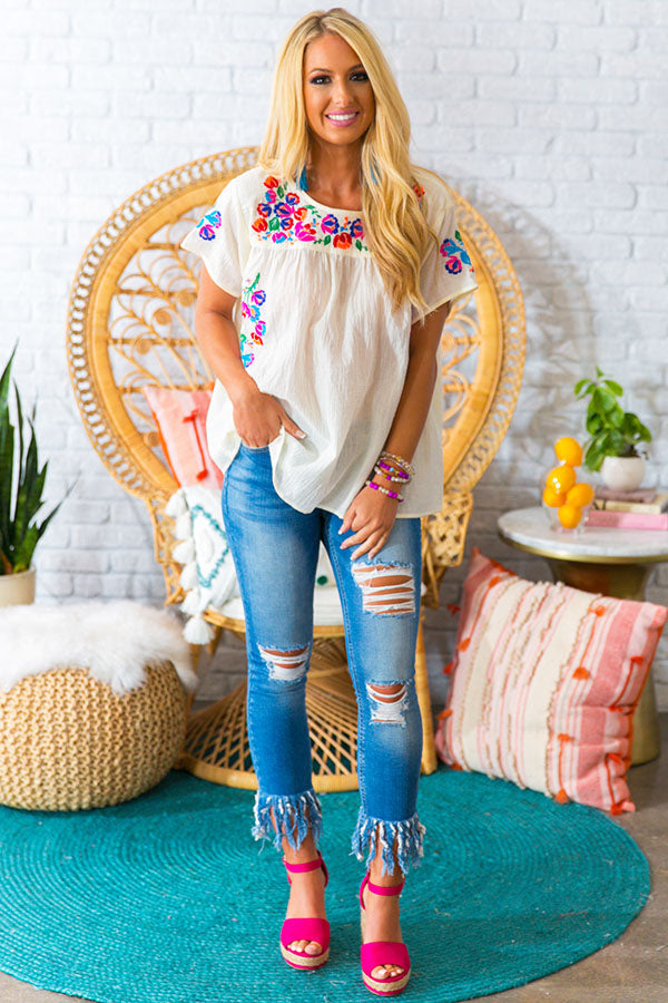 Bombshell Of Summer Embroidered Shift Top