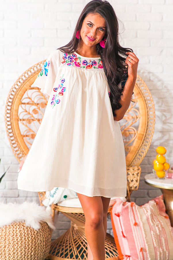 Bombshell Of Summer Embroidered Shift Dress