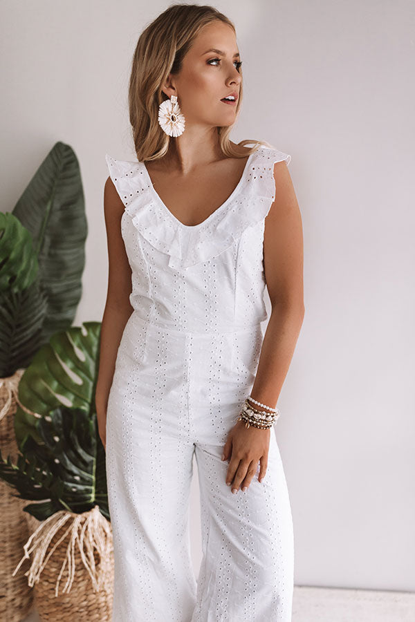 Sipping In Santorini Eyelet Jumpsuit