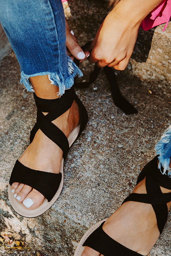 The Mia Faux Suede Lace Up Sandal in Black