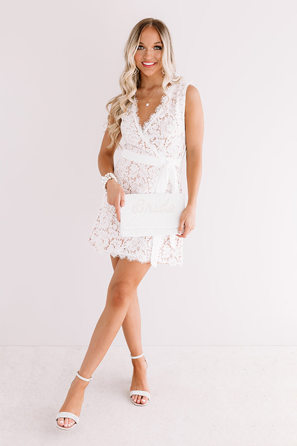 Just Add Wine Wrap Lace Dress in White