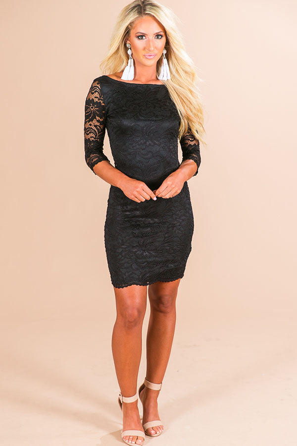 Golden Hour Lace Dress in Black