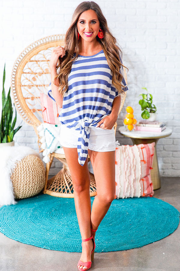 Striped Bliss Shift Top in Periwinkle