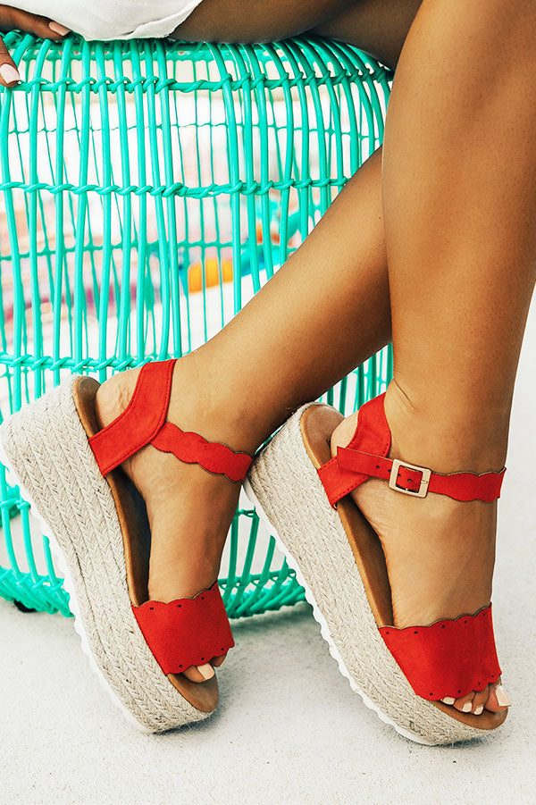 Seaside Heights Scallop Espadrille in Red