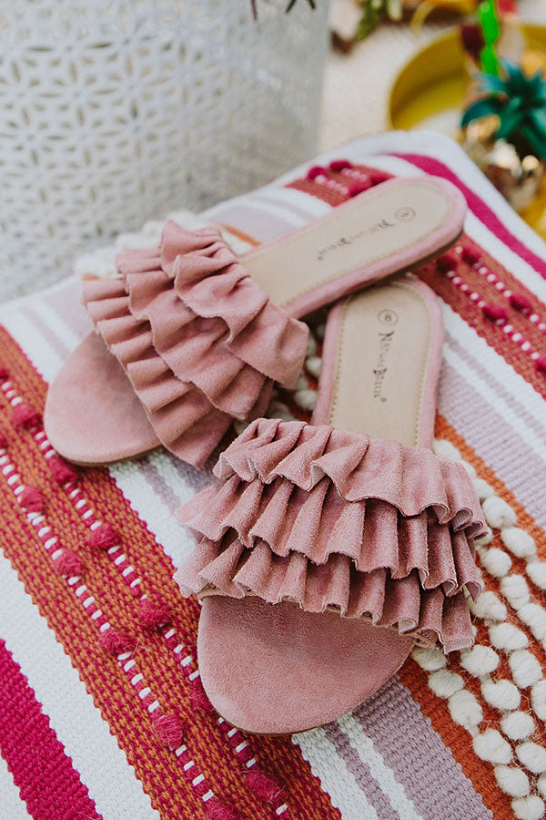 The Avery Faux Suede Ruffle Sandal in Blush