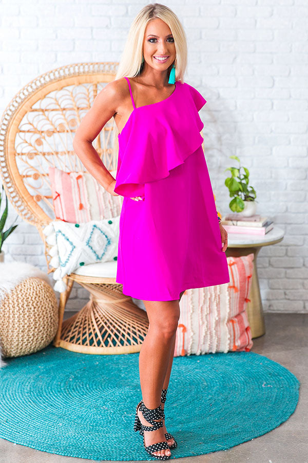 Resort Life Shift Dress in Fuchsia