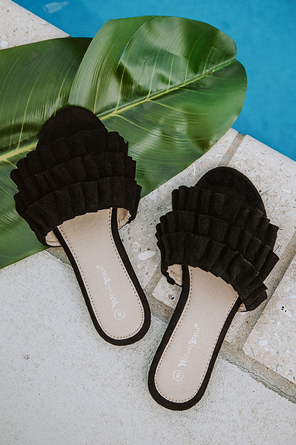 The Avery Faux Suede Ruffle Sandal in Black
